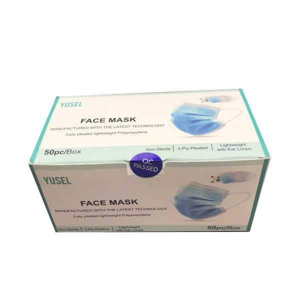 3-Ply Pleated Disposable Face Mask, Adult, One Size